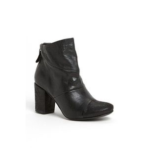 NEW Latitude Femme Black Leather Ankle Boot